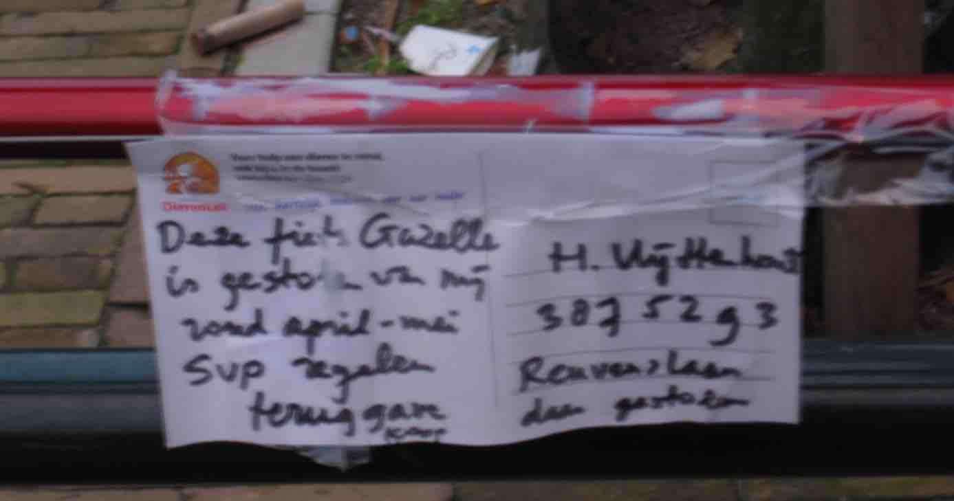 gestolen fietsbriefje